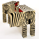 'Zebras' marquetry cabinets - click here to look at an enlarged image of these cabinets and read about the design